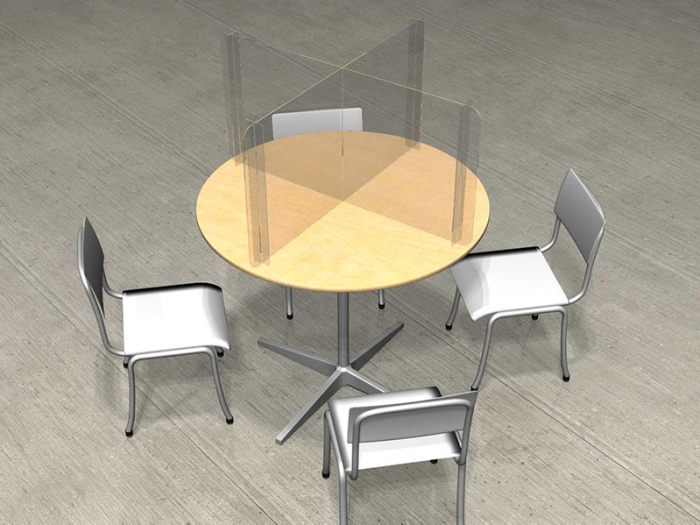 Clear Acrylic 48in Round Table Dividers Protect 4 People