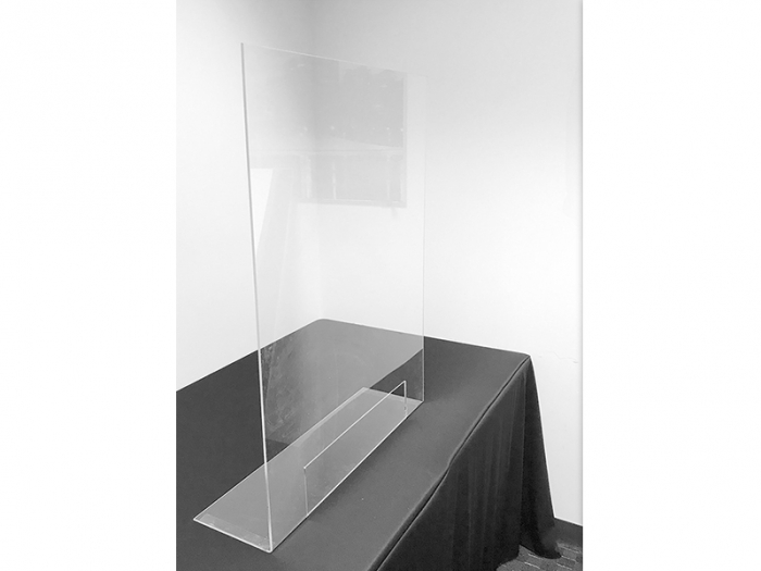 """Clear Acrylic Bent Foot Partition 30"""" x 36"""" with 10"""" x 20"""" Opening Live Shot"""