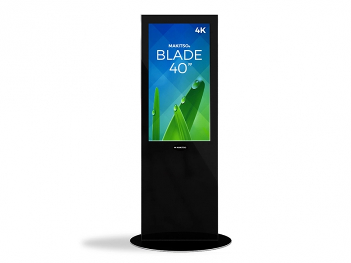 "Makitso Blade 40"" - 4K Digital Signage Kiosk, Black, Front View, with Green and Blue Image"