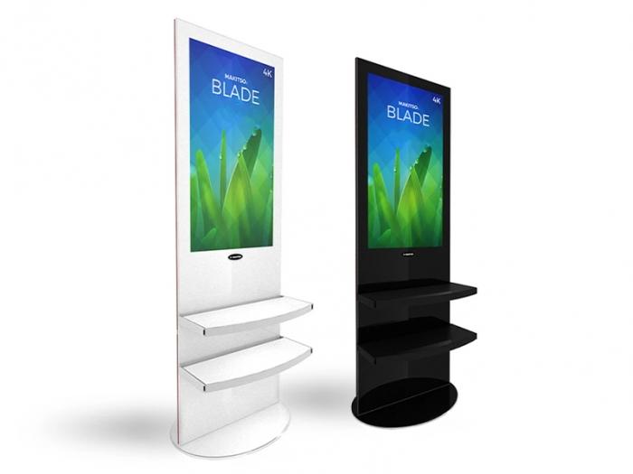 "Makitso Blade 40"" - 4K Digital Signage Kiosk, White and Black Finish, Shelf Option, Right View"