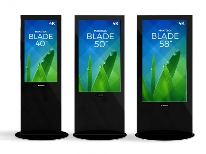 "Makitso Blade 40"", 50"" and 58"" - 4K Digital Signage Kiosks, Black, Front View"