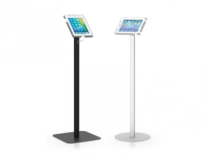 Classic Pro iPad Stands, Black with Square Base and Silver with Round Base