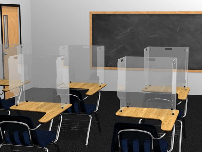 Clear Acrylic School Desktop Guard to Shield Students from Viruses