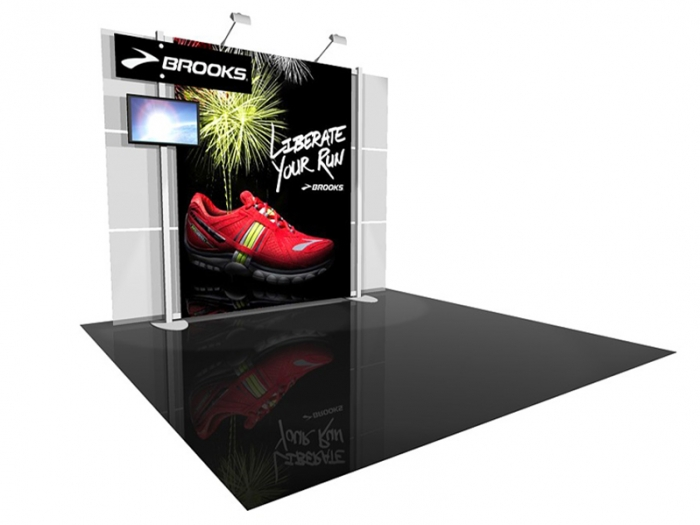 ECO-1049 10' x 10' Sustainable Hybrid Display with Main Graphic and Graphic Header and LCD Monitor