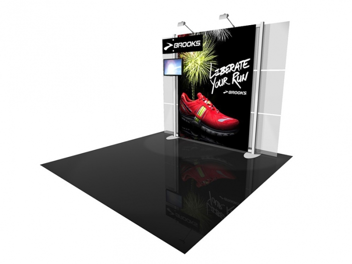 ECO-1049 10' x 10' Sustainable Hybrid Display with Main Graphic and Graphic Header and LCD Monitor Right View