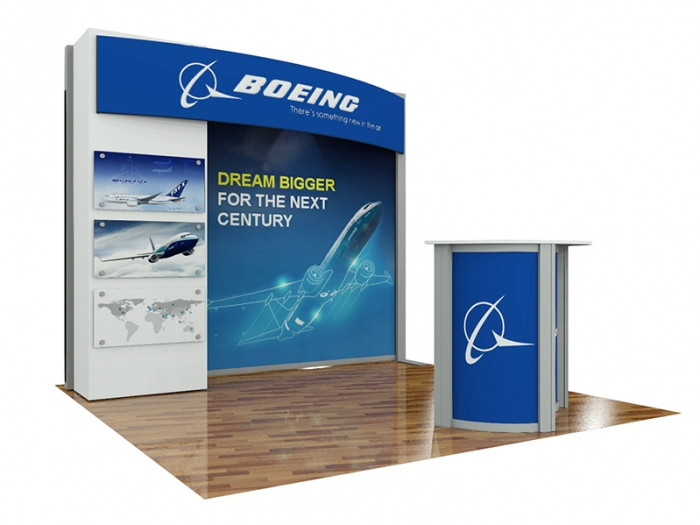 ECO-1109 Hybrid S 10ft Inline Modular Display with Storage, Canopy Header, Direct Print and Dye Sub Fabric Graphics, ECO-3C Counter