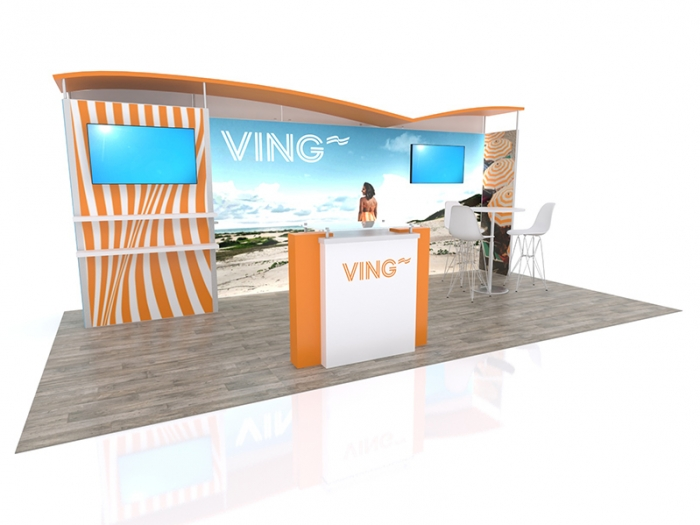 ECO-2057 Hybrid S 20ft Inline Modular Display with VING Graphics and Counter with Storage Area, Two Video Monitors, Canopy Top