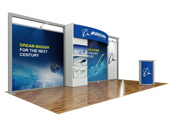 ECO-2109 Hybrid S 20ft Inline Modular Display with Boeing Graphics and Counter with Storage Area