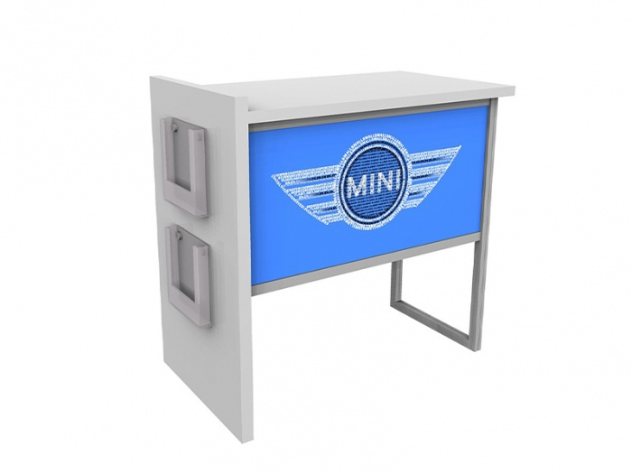 ECO-43C Sustainable Podium Right View with Front Logo and Two Side Literature Holders
