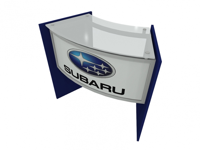 ECO-46C Sustainable Podium with Acrylic Top, Wood Side Panels with Blue Finish, Direct Print Front Graphic Left Down View