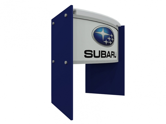 ECO-46C Sustainable Podium with Acrylic Top, Wood Side Panels with Blue Finish, Direct Print Front Graphic Right View