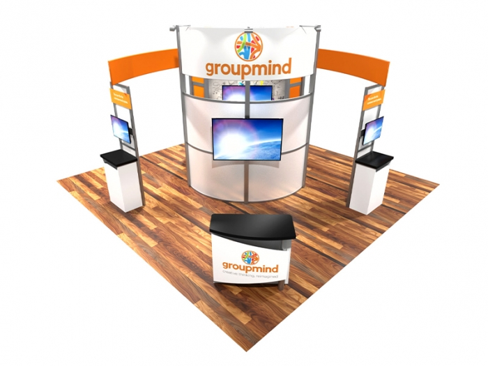 ECO-4009 20ft Sustainable Hybrid Island Front Down View with Large Monitor, Two Monitor Work Stations and Counter with Graphics