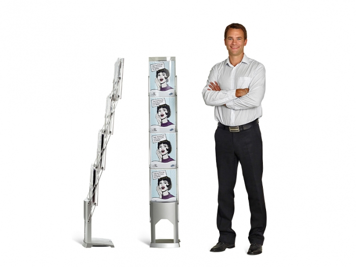 Expolinc Premium Brochure Holder Front View and Profile View with Male on Right