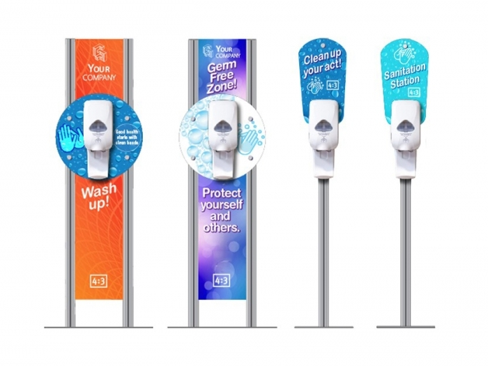 four floor mounted hand sanitizer stations with custom graphics
