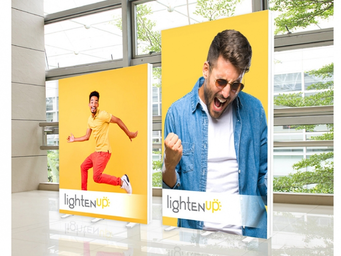 LightenUp Illuminated Backlit Fabric 8ft Displays with 96in x 78in Left and 96in x 96in Display Right