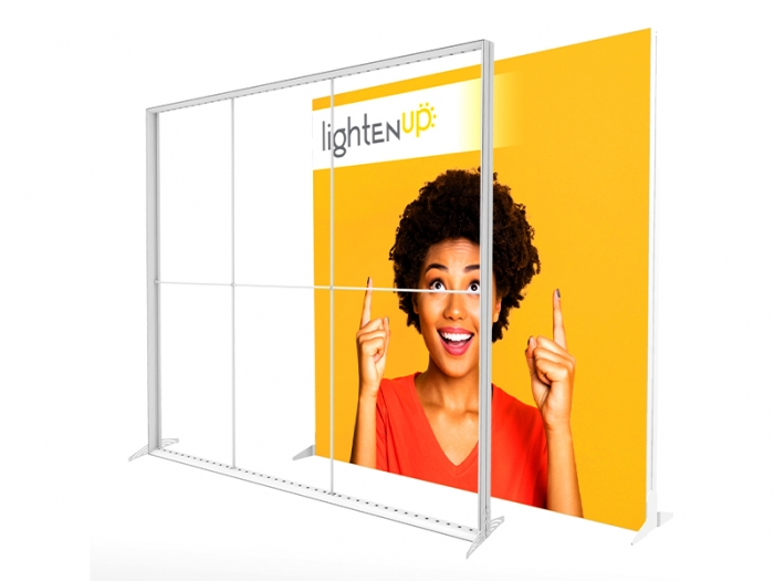 LightenUp Illuminated Backlit Fabric Display Frame with Integrated LED Lights and Dye Sub Backlit Fabric Banner