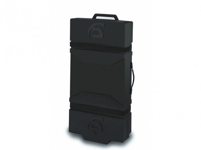 LT-550 Roto-molded Case Standing Up with Pull and Carry Handles and Wheels