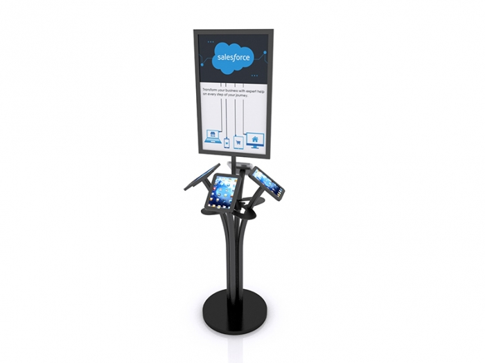 MOD-1347 Portable iPad Kiosk for Four iPads, Sign and Shelf Black Finish Round Base