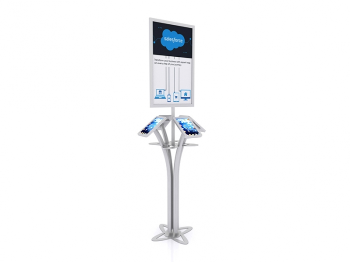 MOD-1347 Portable iPad Kiosk for Four iPads, Sign and Shelf