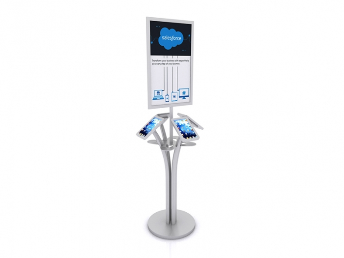MOD-1347 Portable iPad Kiosk for Four iPads, Sign and Shelf Silver Finish Round Base