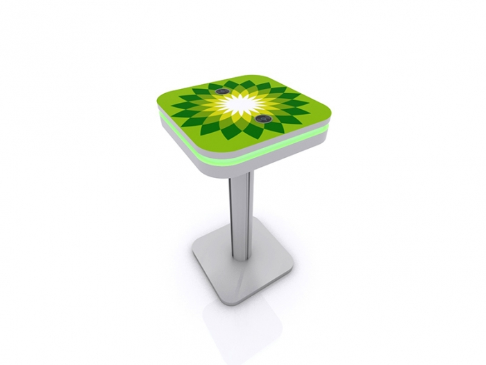 MOD-1463 Portable Wireless Charging Bistro Table Silver with Graphic Top and Green LED Halo Lighting