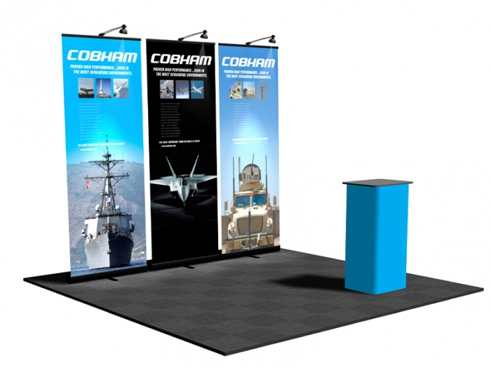 Pronto Retractable Banner Stand 10ft Display Package with 3 Pronto Displays with Graphics, and Lights and Podium Conversion Case
