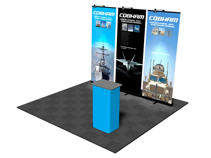 Pronto Retractable Banner Stand 10ft Display Package with 3 Pronto Displays with Graphics, and Lights and Podium Conversion Case Right View