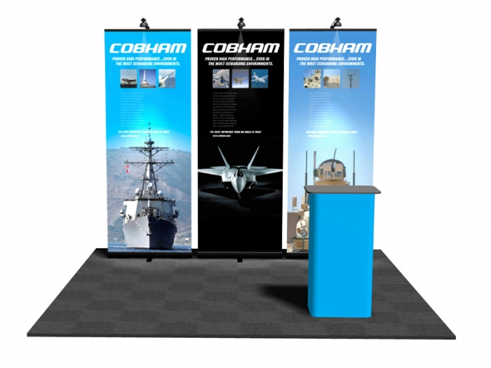 Pronto Retractable Banner Stand 10ft Display Package with 3 Pronto Displays with Graphics, and Lights and Podium Conversion Case Straight View