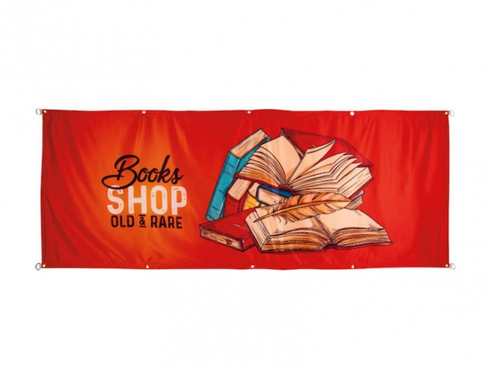 Satin Dye Sublimation Banner 8ft x 3ft with Grommets, Red with Graphic