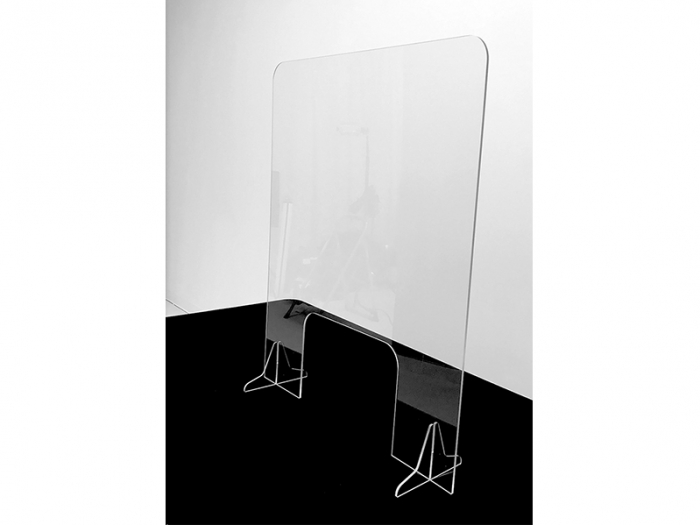 """Clear Acrylic Slot Foot Partition 30"""" x 36"""" with 10"""" x 15"""" Opening Live Shot"""