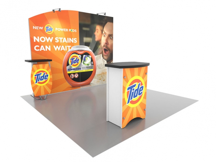 Symphony SYK-1030 10ft Inline Portable Display with Arched SEG Graphic, Table and Counter, Left View