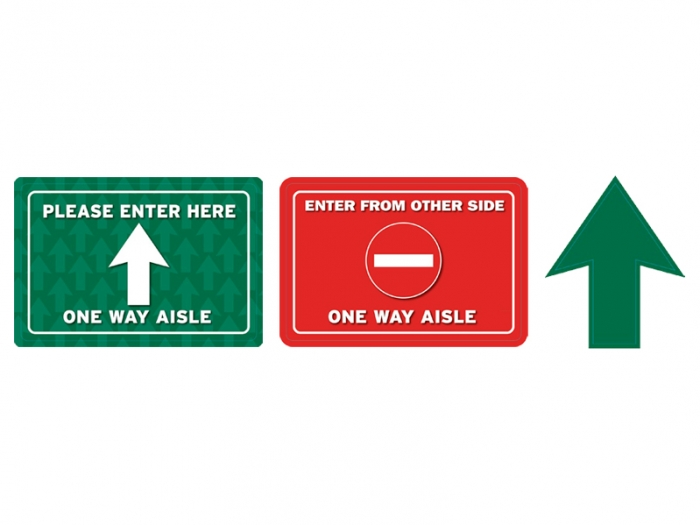 Aisle Way Traffic Flow Vinyl Adhesive Floor Decals Kit with Two Rectangle Signs and Arrow Sign