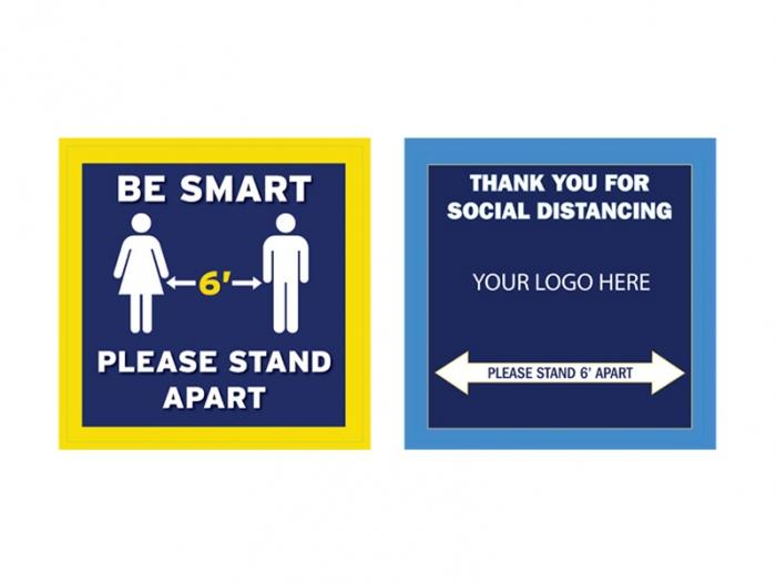 Be Smart Square Vinyl Adhesive Floor Decals, Standard and Custom Design