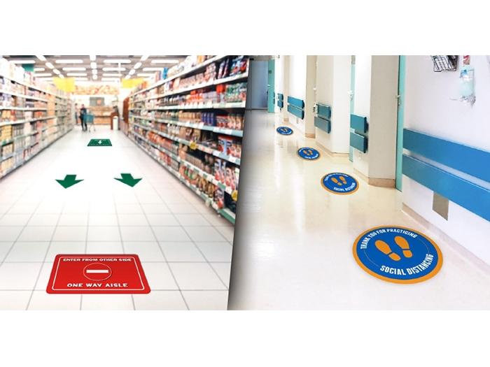 Social Distancing Vinyl Floor Decals in Grocery Store and Corridor