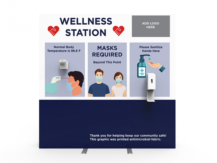 Wellness Station Portable 8ft Pop-up Display with Temperature Gauge and Hand Sanitizer Dispenser with PPE Graphics Front View