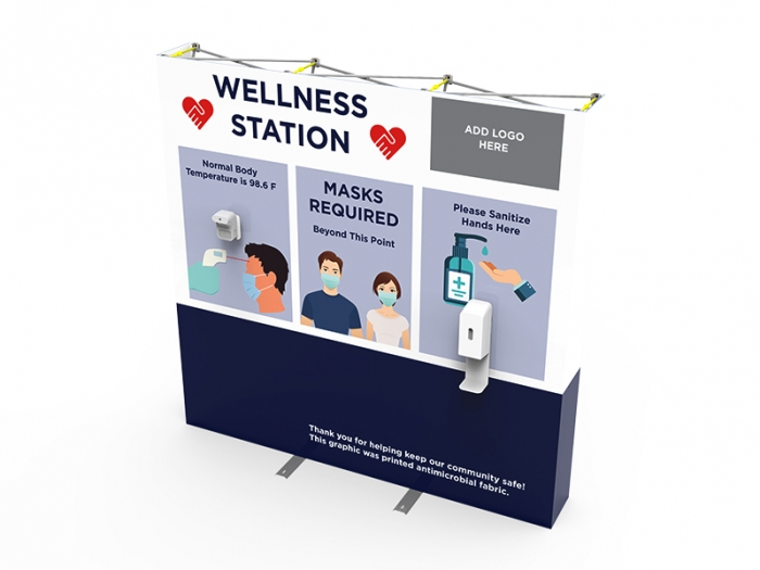 Wellness Station Portable 8ft Pop-up Display with Temperature Gauge and Hand Sanitizer Dispenser with PPE Graphics Left Down View