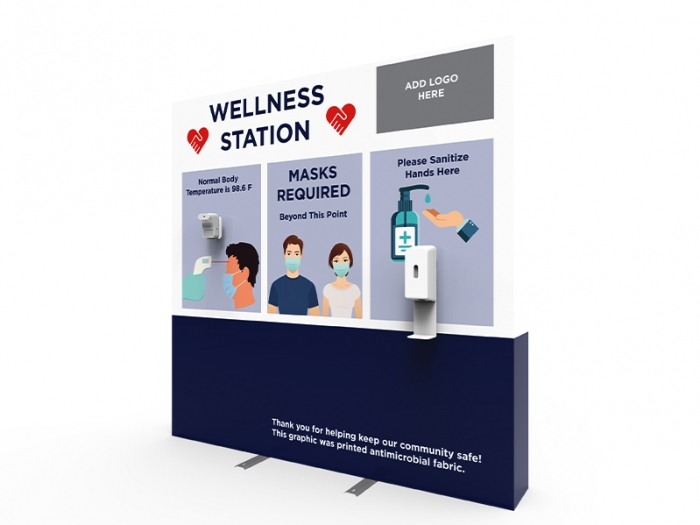 Wellness Station Portable 8ft Pop-up Display with Temperature Gauge and Hand Sanitizer Dispenser with PPE Graphics Left View