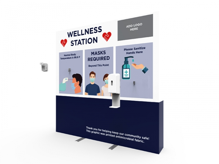 Wellness Station Portable 8ft Pop-up Display with Temperature Gauge and Hand Sanitizer Dispenser with PPE Graphic Assembly