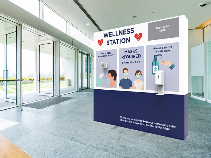 Wellness Station Portable 8ft Pop-up Display with Temperature Gauge and Hand Sanitizer Dispenser with PPE Graphics Live View in Entry Way