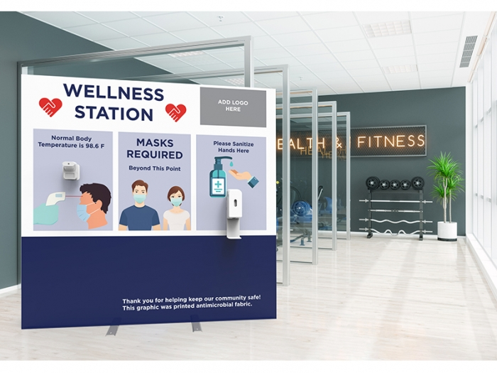 Wellness Station Portable 8ft Pop-up Display with Temperature Gauge and Hand Sanitizer Dispenser with PPE Graphics Live View in Gym