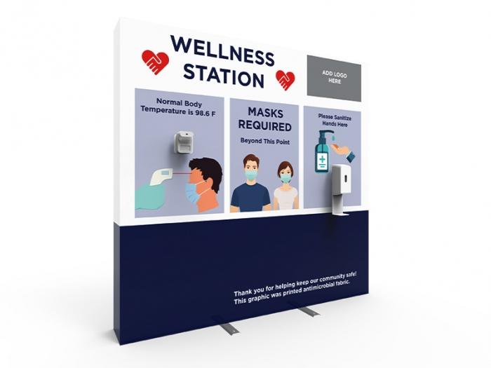 Wellness Station Portable 8ft Pop-up Display with Temperature Gauge and Hand Sanitizer Dispenser with PPE Graphics Right View