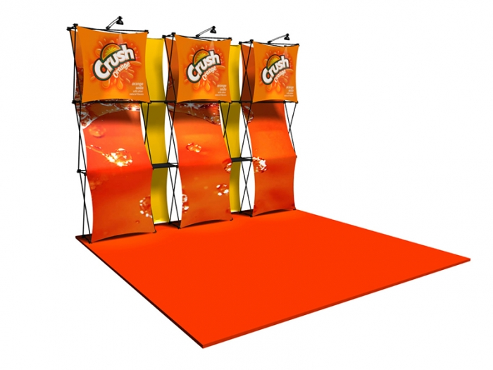 "Xpressions CONNEX 10ft Kit ""A"" Pop-up Display Six Graphic Panels, Two Accent Panels and Three Lights Left View"