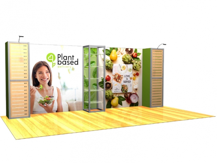XR.1020.K4 20ft Backlit Modular Display with Two Slatwall Panels, Five Product Shelves, Right View