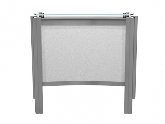 XR.C2.BL Backlit Reception Counter with Locking Storage and Clear Standoff Plexiglas Top Back View