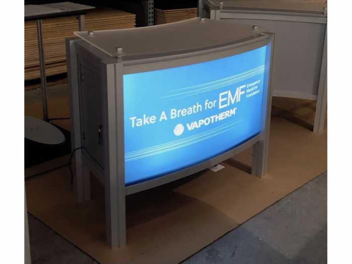 XR.C2.BL Backlit Reception Counter with Locking Storage and Clear Standoff Plexiglas Top - Live View