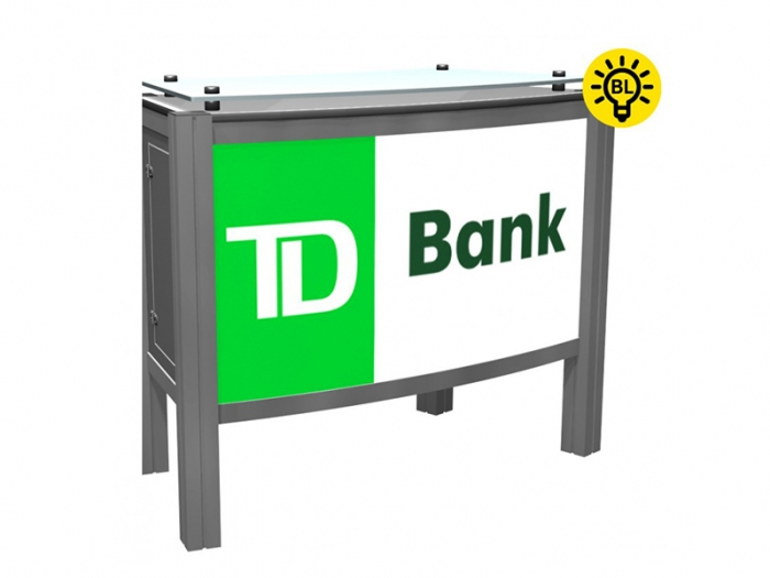 XR.C2.BL Backlit Reception Counter with Locking Storage and Clear Standoff Plexiglas Top Right View